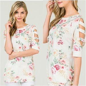 🍁SALE Softest Ever Ladder Sleeve Floral Top SM